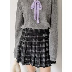 J-ANN - Pleated Check Wool Blend Mini Skirt