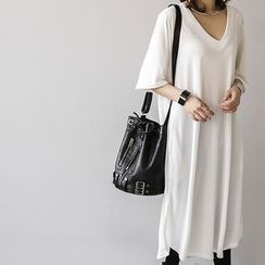 NANING9 - V-Neck Elbow-Sleeve T-Shirt Dress