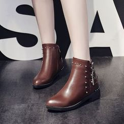Pangmama - Studded Buckled Ankle Boots