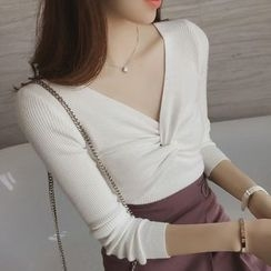 MayFair - Knotted V-Neck Long-Sleeve Knit Top