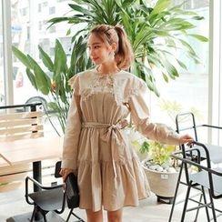 Cherryville - Sailor-Collar Tiered A-Line Dress with Sash