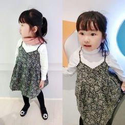 Happy Lala - Kids Sleeveless Spaghetti-Strap Printed Dress
