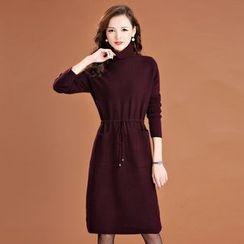 Romantica - Turtleneck Drawstring Knit Dress