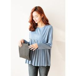 J-ANN - Round-Neck Pleated Top