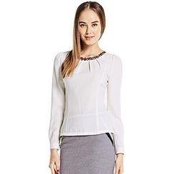 O.SA - Long-Sleeve Jeweled Shirred Chiffon Top