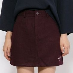 Heynew - Lettering Embroidered A-Line Skirt