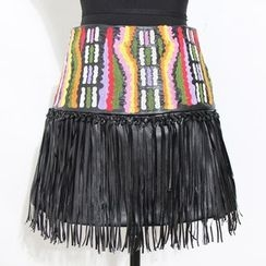 Ultra Modern - Embroidered Fringed Faux Leather Mini Skirt