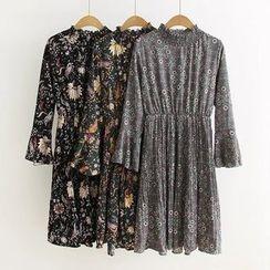 Angel Love - Floral Print Long Sleeve Chiffon Dress