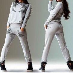 Rebecca - Set : Wings Print Sweatshirt + Sweatpants