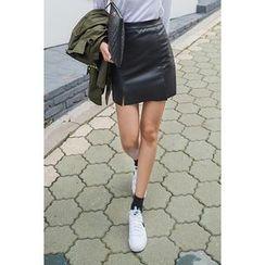 migunstyle - Slit-Hem Faux-Leather Mini Skirt