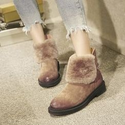 JY Shoes - Embellished Furry Ankle Boots