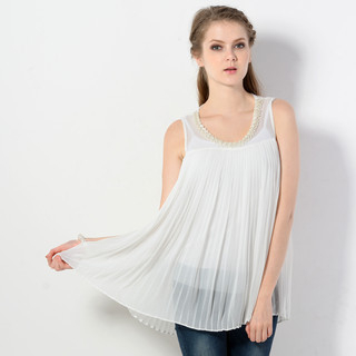 YesStyle Z - Pleated Pearl-Embellished Sleeveless Top