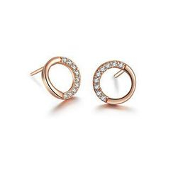 BELEC - 925 Sterling Silver Round with White Cubic Zircon Rose Golden Stud Earrings