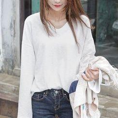 Seoul Fashion - Cotton Long-Sleeve T-Shirt