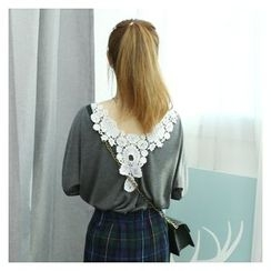 Dodostyle - Eyelet Lace-Back Round-Neck T-Shirt