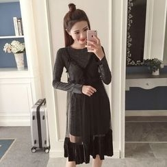 Twinkle Star - Set: Long-Sleeve T-Shirt Dress + Strappy Sheer Dress