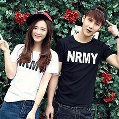 Azure - Couple Short-Sleeve Lettering T-Shirt