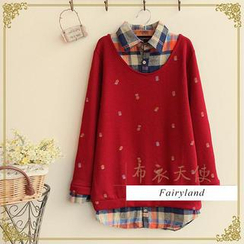 Fairyland - Inset Plaid Shirt Pineapple Print Pullover