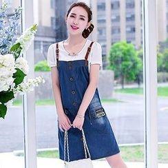 Romantica - Faux-Leather Strap Denim Jumper Skirt
