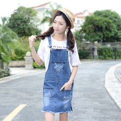 Arroba - Distressed Denim Jumper Dress
