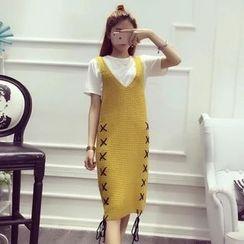 lilygirl - Lace-Up V-Neck Knit Dress