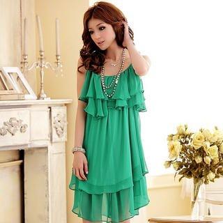 JK2 - Sleeveless Ruffled Chiffon Dress