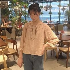 Big Cat - Bow Accent Lace 3/4 Sleeve Top