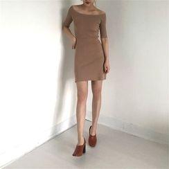 Alfie - Off-Shoulder Slim-Fit Short-Sleeve Knit Dress