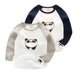lalalove - 童装熊猫印花插肩袖长袖T恤