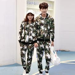 Tabla - Couple Matching Set : Camouflage Hoodie + Sweatpants