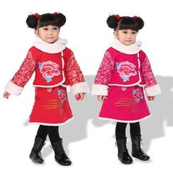 Lotus Seed - Kids Set: Long-Sleeve Embroidered Jacket + Skirt