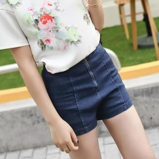 CatWorld - High-Waist Zip Denim Shorts