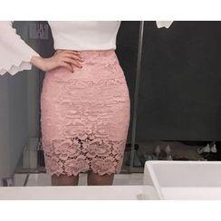 Marlangrouge - Lace Mini Pencil Skirt