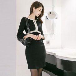 Gl.bY - 3/4-Sleeve Color Block Sheath Dress