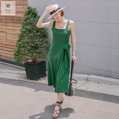 WITH IPUN - Sleeveless Wrap-Front Wide-Leg Jumpsuit