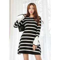 REDOPIN - Bell-Sleeve Striped Dress