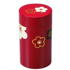 Hakoya - Hakoya Tea Caddy Large Hanamonyou Ume Red