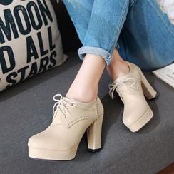 幸福鞋坊 - 厚底繫帶高跟鞋