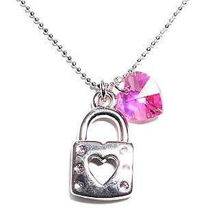 6thJune - 'Lock-My-Heart' October Birthstone Necklace - Tourmaline (Swarovski Crystal)