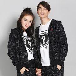 HappyTee - Graffiti Hooded Couple Jacket
