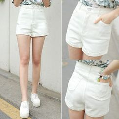 Nassyi - High-Waist Denim Shorts