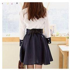 Sechuna - Set: Detachable-Ribbon Blouse + Lace-Up Skirt