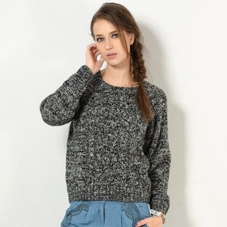 YesStyle Z - Wool-Blend Cable-Knit Melange Sweater
