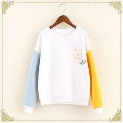Fairyland - Embroidered Color Block Sweatshirt