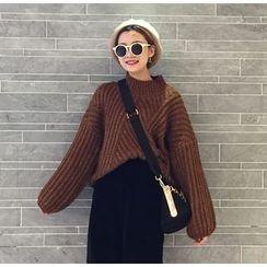 ALIN STYLE - 高領粗針織毛衣