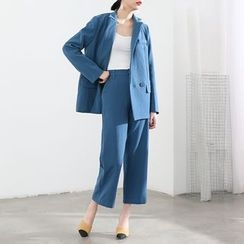 HORG - Set: Double-Breasted Blazer + Cropped Straight Leg Pants