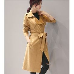 Eighoo - Plain Faux Suede Long Trench Coat