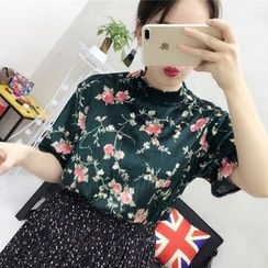 small dots - Floral Print Velvet Short-Sleeve Top