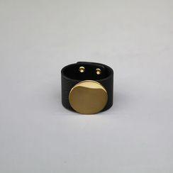 NANING9 - Metal-Disc Genuine-Leather Bracelet