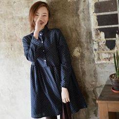 GOROKE - Mandarin-Collar Polka-Dot Shirtdress